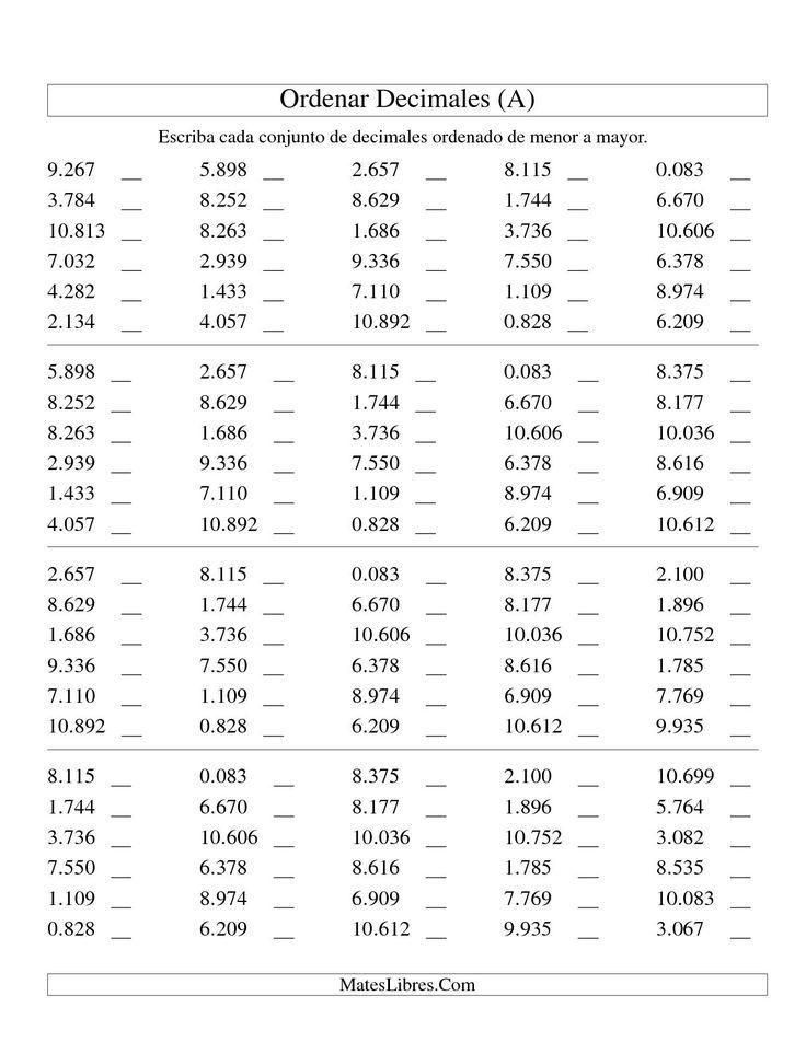 La hoja de ejercicios de matemáticas de Ordenar Decimales -- Milésimas (A) de la página Hojas de Ejercicios de Decimales (USA) en MatesLibres.com.