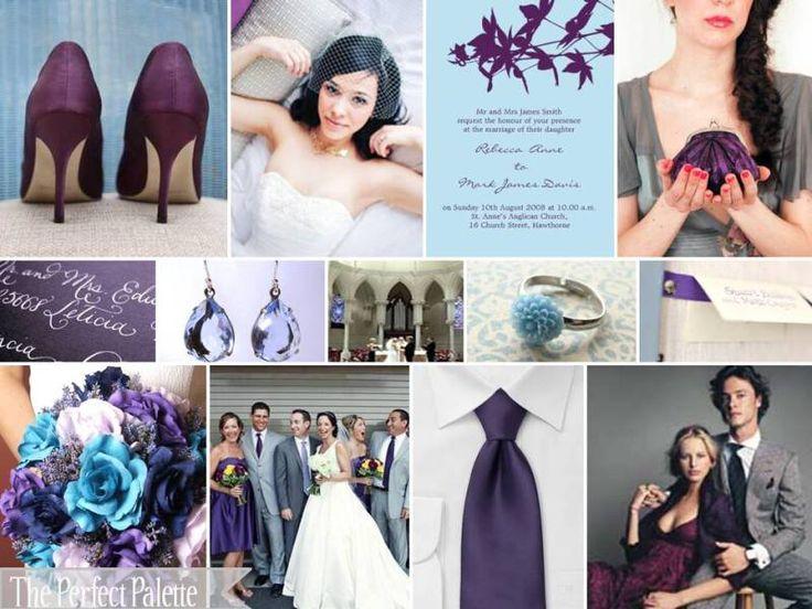 purple, light blue and gray wedding: Ideas, Color Schemes, Purple, Weddings, Colors Palettes, Wedding Colors, Colors Schemes, Powder Blue, Plum