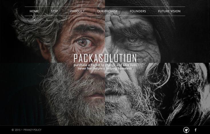 Packasolution - это благотворительная программа, которая обращает внимание общественности на бездомных людей и проблемы, с которыми они сталкиваются в повседневной жизни. Промо-сайт  компании предлагает подарить пакет с вещами первой необходимости. На сайте можно подробно рассмотреть вещи, которые включает в себя данный пакет, а также заказать его для бездомного.