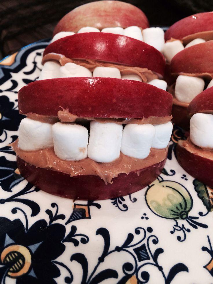 Halloween Vampire Teeth -apple slices, peanut or sun nut butter and marshmallows