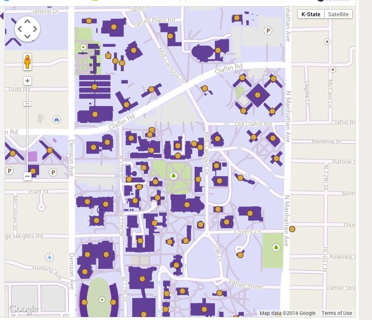An interactive campus map of all three campuses: Manhattan, Olathe and Salina.