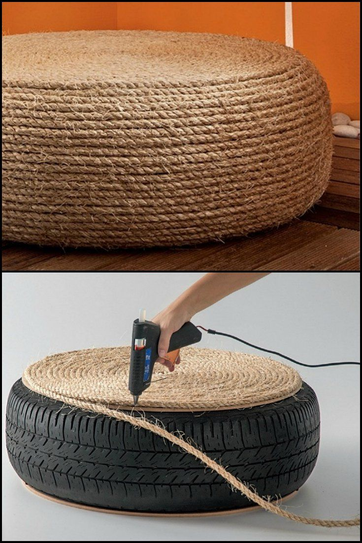 How To Build An Ottoman By Recycling An Old Tire  http://theownerbuildernetwork.co/ia1t  Old tires – Hard to get rid of and bad for the environment. What's the solution? Turn them into an ottoman!  Have you got a spot for an ottoman?