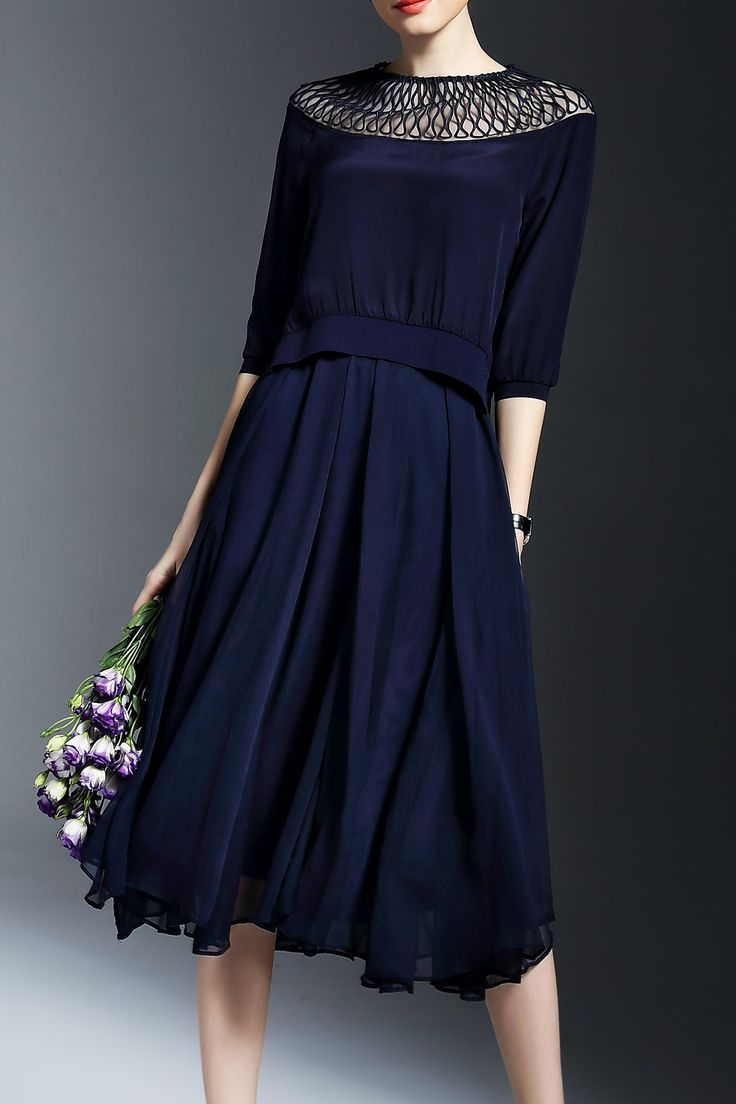 Joy&joso Purplish Blue Solid Color Cut Out Blouse With Skirt | Skirts at DEZZAL