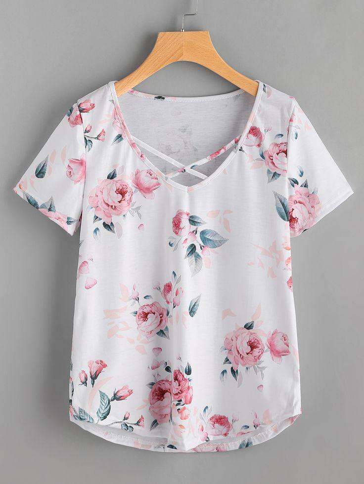 Camiseta con tiras cruzadas con estampado floral-Spanish SheIn(Sheinside)