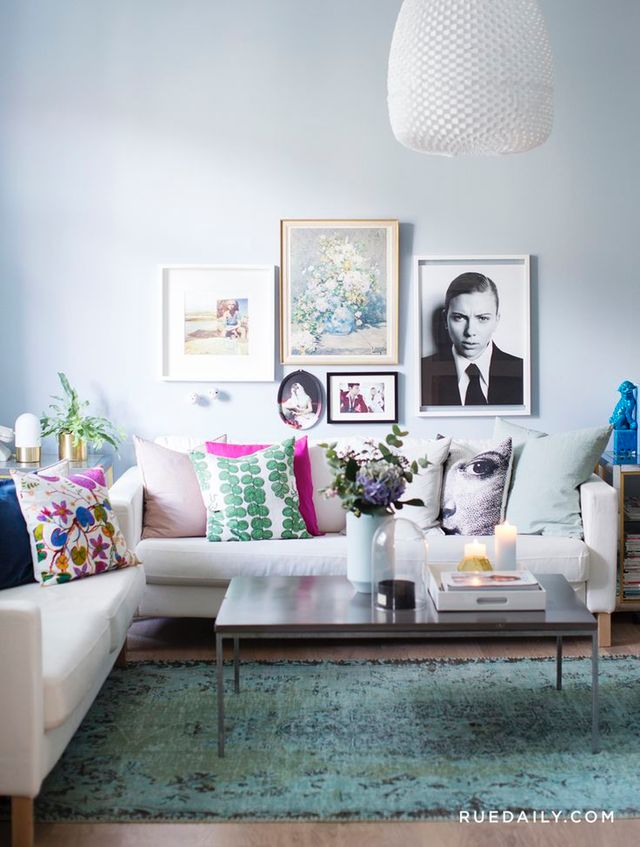 15 Living Rooms in Any Color But White | Right now, when it comes to interiors, white is big. Very, very big. Flip through any design magazine or blog and you'll find spaces with white walls: airy Scandinavian spaces, maximalist Bohemian spaces, tailored Midcentury-style spaces. If you're experiencing a bit of white fatigue, then feast your eyes on this collection of 15 living rooms in pretty much any color but white.