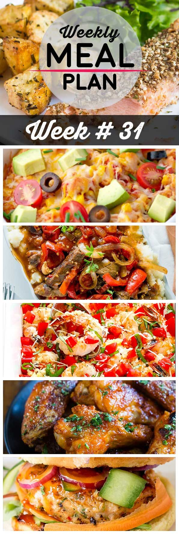 Weekly Meal Plan #31! A meal plan to help you keep things tasty each week, including dukkah crusted salmon, mexican chicken casserole, crock pot pepper steak, and more!   HomemadeHooplah.com