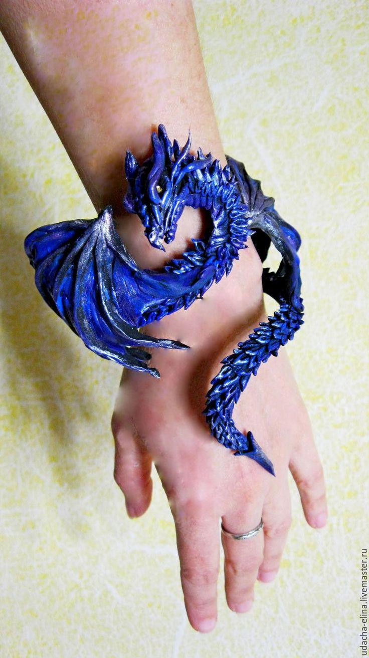 """Купить Браслет """"Синий Дракон"""" - тёмно-синий, драконы, игра престолов, подарок на новый год"""