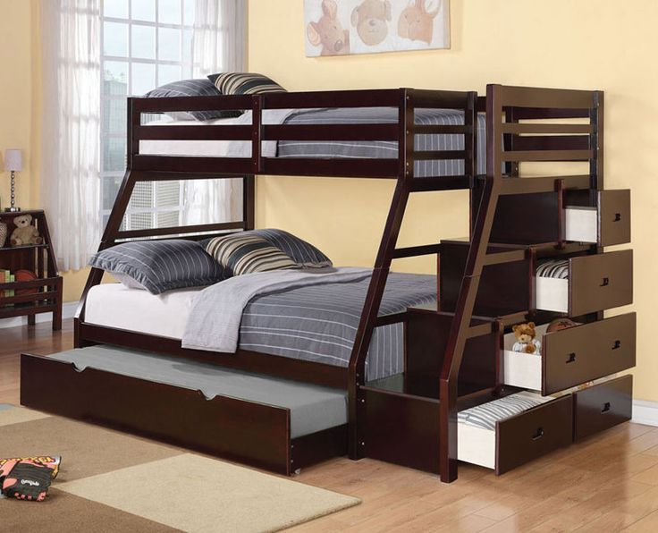 Twin over Full Bunk Bed Jason Collection Staircase Bunk Bed Espresso Finish Hardwood Solids and Veneers Assembly required Don't miss your chance to own this beautiful piece at a discounted price! Item Description: With space saving features, this Jason Espresso Twin over Full Bunk Bed with Storage Ladder and Trundle with warm design and functional character will be a wonderful addition to your child's bedroom. The built in guard rail and ladder add safety and convenience, while clean lines…