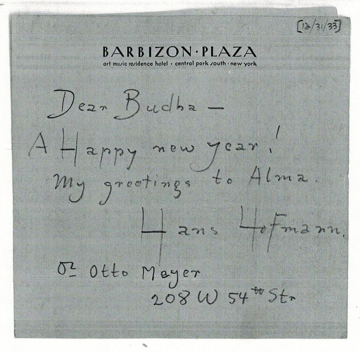 Hans Hofmann's 1933 New Year's Card to Ray Eames (whom he