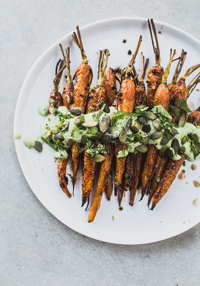 roasted carrots with black garlic & herb yoghurt