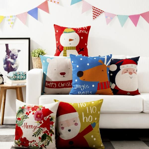 Cartoon Santa Claus Decorative Pillows For Sofa Bear Linen Cushions 18 Inch