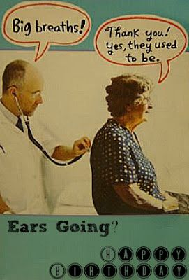 "Great Funny Birthday Card for an Aging Lady! Big Breaths!   ""Thank You! Yes, they used to be!"""