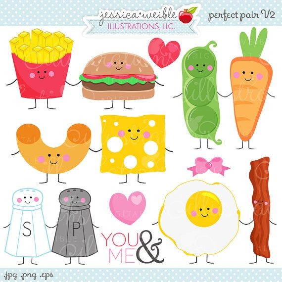 Perfect Pair V2 Cute Digital Clipart - Commercial Use OK - Things that Go Together, Pairs, Valentine Graphics, Valentine Clipart