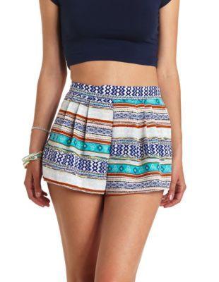 pleated tribal print high-waisted shorts