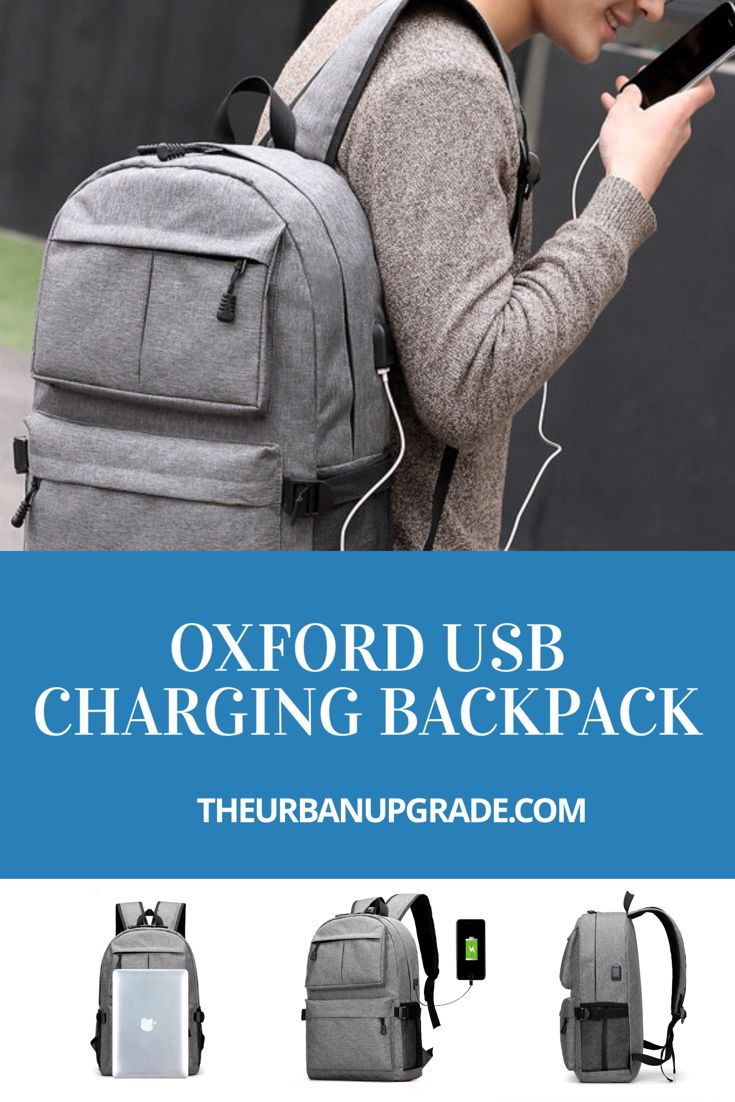 Oxford USB Charging Backpack   The Urban Upgrade   Oxford Backpacks   USB Charging Backpacks   smart Backpacks   functional Backpacks   big Backpacks   roomy Backpacks   spacious Backpacks   best Backpacks for your gadgets   Backpacks that charge your iPhone iPad iPod Samsung android google gadgets   usb charging Backpacks   best Backpacks under $50 grey Backpacks   black Backpacks   blue Backpacks   Backpacks with outside pockets   stylish backpacks   Backpacks for men   Backpacks for women
