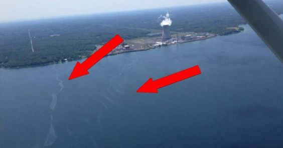 """US Coast Gaurd cordoned off a portion of Lake Ontario after a visible """"sheen"""" was spotted coming from a New York nuclear power plant leak."""