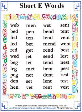 Short Vowel Sound - Word Lists - Short E