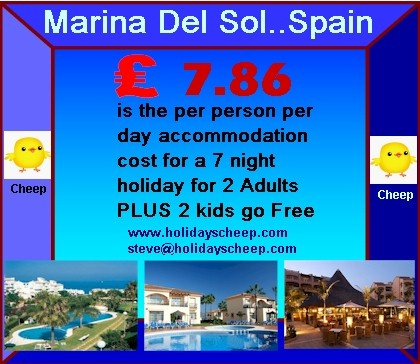 Enjoying a wonderful position on Spain's sunny Costa del Sol, Marina del Sol is located within easy walking distance of the beach, close to the ever-popular holiday destinations of Fuengirola and Torremolinos. This outstanding resort is designed in traditional Andalucía style, with landscaped gardens surrounding a pool complex, with plenty of sun terraces to make the most of the wonderful climate.  http://www.holidayscheep.com/index.php/marina-del-sol-club-la-costa