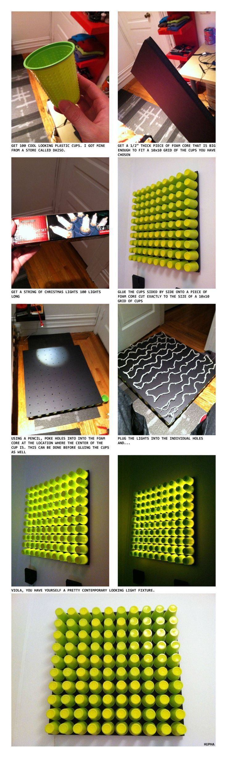 Foam core + glue + plastic cups + Christmas lights = Cool light fixture (do word or name)