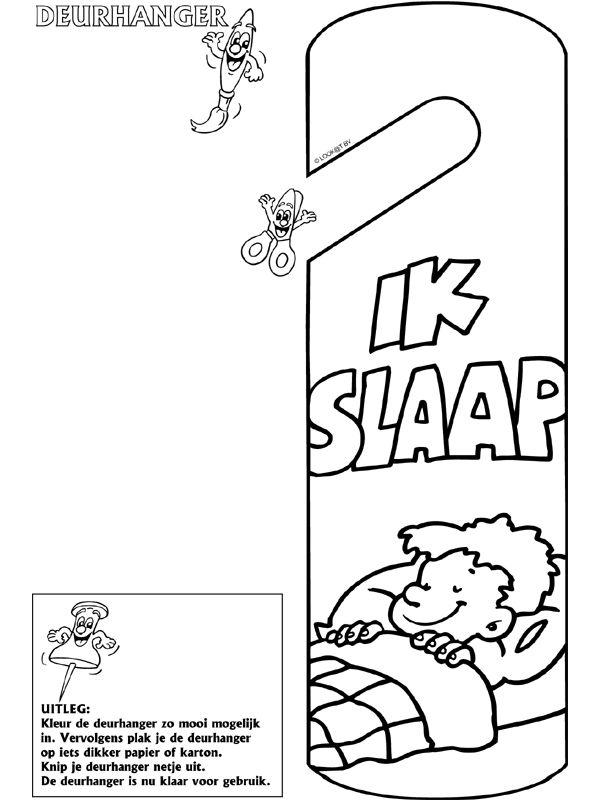 Ik slaap - Deurhanger - Knutselpagina.nl - knutselen, knutselen en nog eens knutselen.