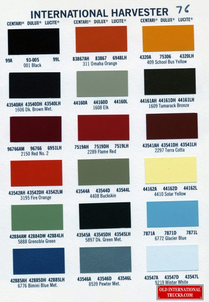1976 color chart  color charts • old international truck parts