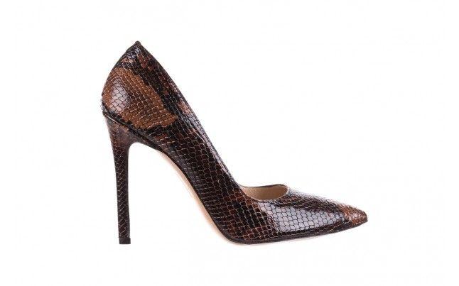 Bayla 097 14 Szpilki Brazowy Waz Szpilki Bayla Z Motywem Czarno Brazowej Skory Wezowej Wykonane Z Naturalnej Skory Stiletto Heels Stiletto Heels