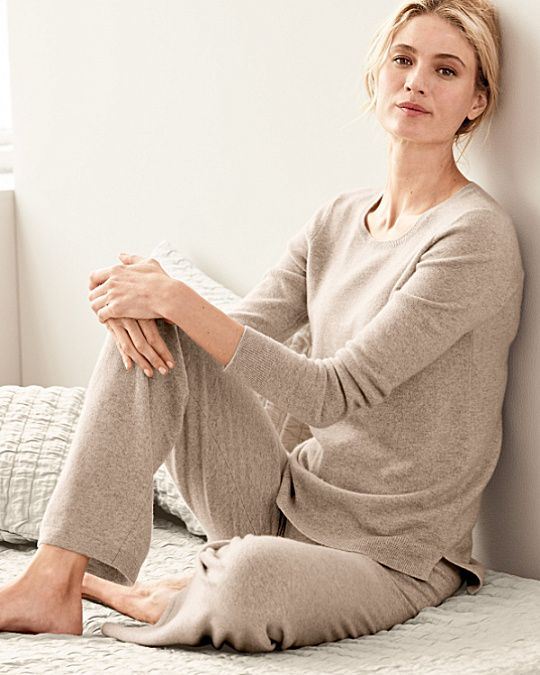 A serene cashmere sleep set by Eileen Fisher is designed to soothe in pure cashmere, with flattering details like a stepped hem and easy, wide-leg pants.