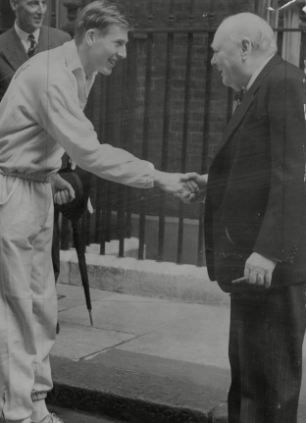 Success: Sir Roger Bannister  meeting the Prime Minister Sir Winston Churchill  before the start of a race from Downing Street
