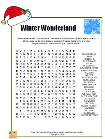 Winter Wonderland Word Search (sub activity)