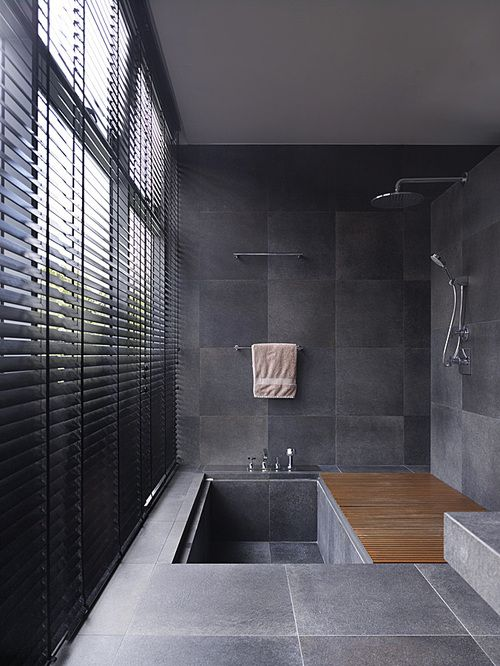 sunken tub/floor/stone/wooden slats/similar blinds