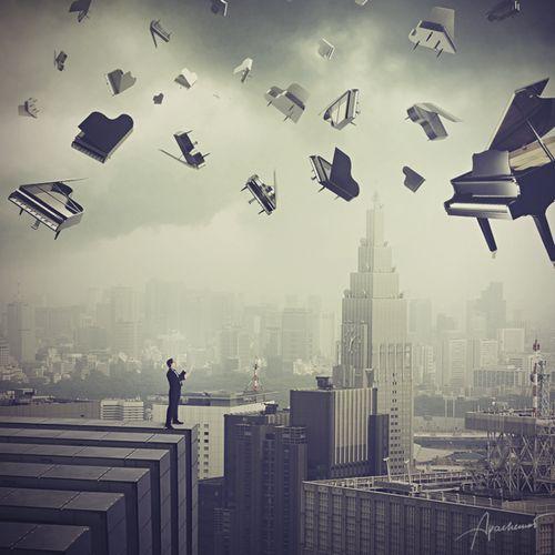 It's raining music and grand pianos! #art #inspire