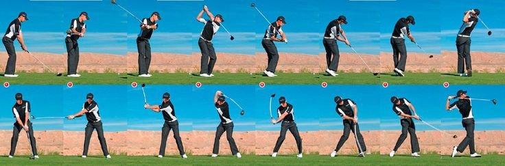 This is a compilation of a golfer taking a swing. The sequence shows movement snaps as the golfer is taking a swing. The audience is able to see the whole swing in action. Sporting sequences such as this one are often used to show or check technique as in all sport immaculate technique is the key to success.