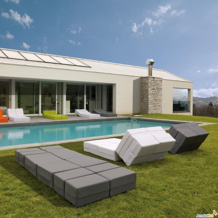 Contemporary outdoor chaise lounge - in grey and white