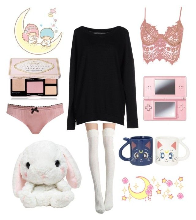 """Little one "" by holocene00 ❤ liked on Polyvore featuring Agent Provocateur, WithChic, Majestic, Nintendo, Bandai, Too Faced Cosmetics, kawaii and ddlg"