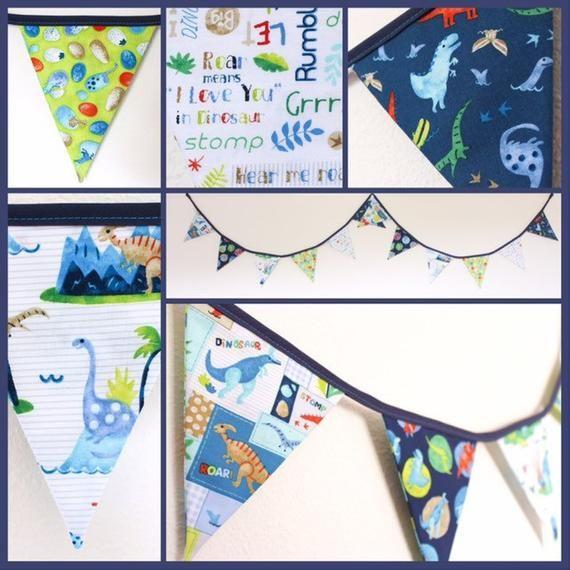 P Birthday Party Boy/'s Party Kids Bedroom Christening Blue Dinosaur Bunting