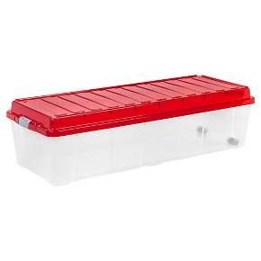 This Christmas tree storage box is great for storing artificial trees, porch trees, and artificial decorations. The buckles attach the lid securely to keep dust, insects, and rodents out of holiday décor. On one side of the box there is a set of wheels for easy transport, grab underneath the buckle on the opposite side and you're on your way. Holds most 7ft trees or 4 ft. sections.