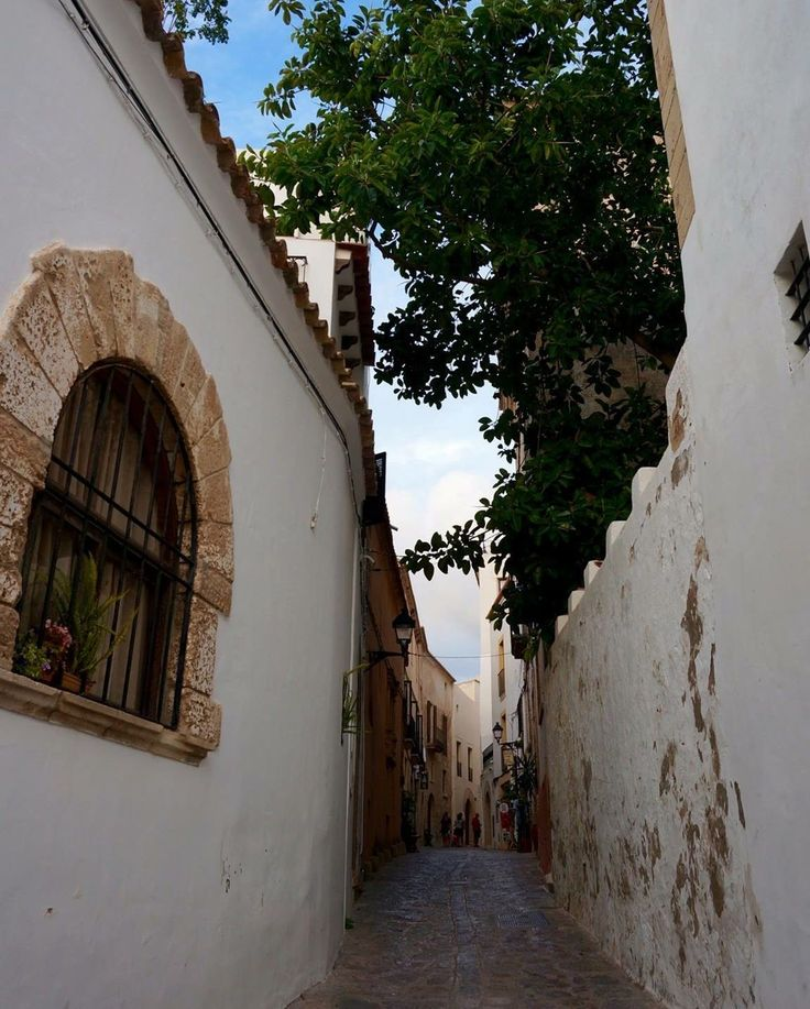 I just loved finding ourselves walking down the cobblestone streets of the main town in Ibiza. The rustic windows trees and the feeling we're in another country - it's perfect
