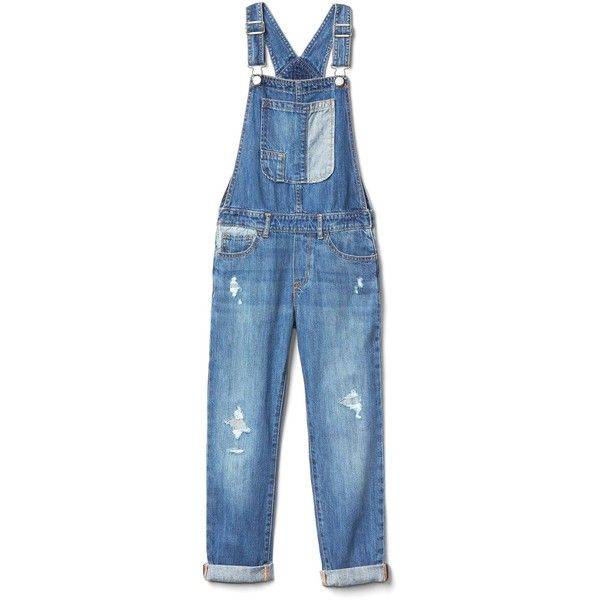 Patchwork denim girlfriend overalls (2780 RSD) ❤ liked on Polyvore featuring jumpsuits, blue bib overalls, denim overalls, bib overalls, blue overalls and blue jumpsuit