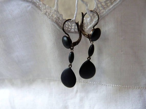 Victorian mourning jewelry earrings French antique black gutta percha mourning silver ear rings gothic jewelry goth earrings accessories by... affordable #silverjewelry #antiquejewelry #silverearrings