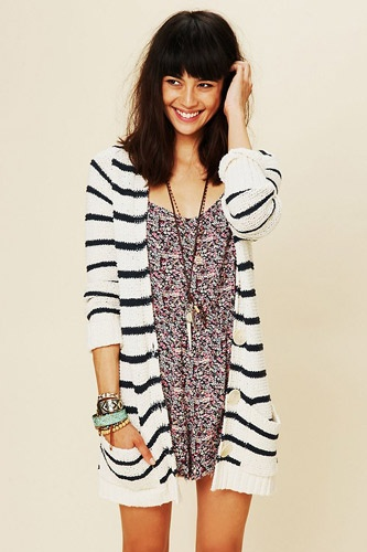 Long and layered, perfect year-round.: Stripe Cardigan, Cardigans, Sweater, Fashion, Freepeople, Style, People Stripe, Free People