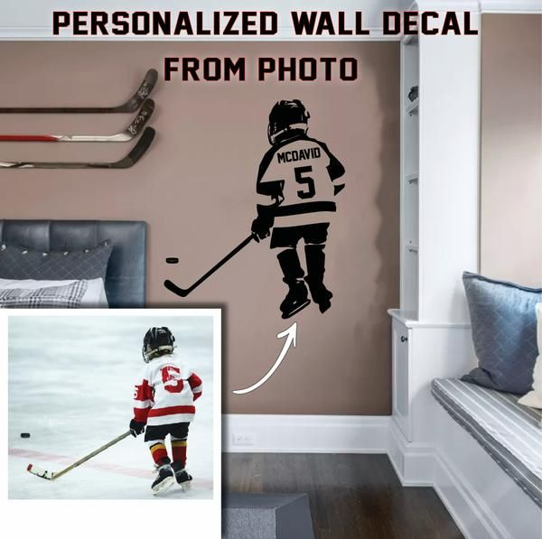 All Hockey Stickers In 2020 Hockey Room Personalized Wall Decals Hockey Bedroom