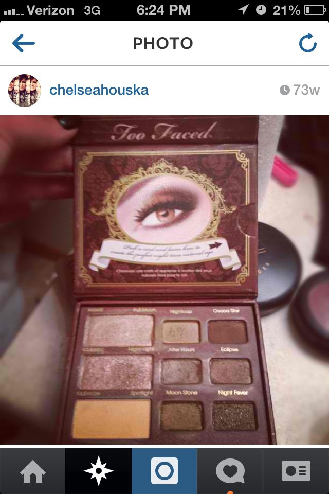 Makeup used by Chelsea Houska Two Faced palette