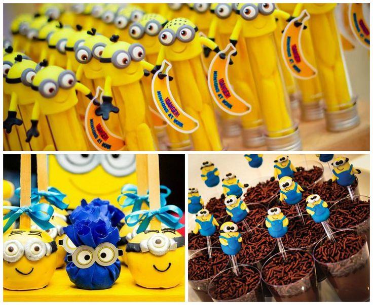 Minions party em festa infantil com muitos doces decorados