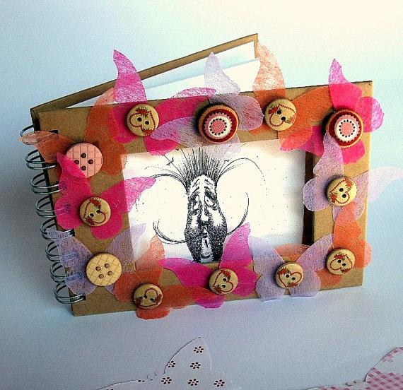 OOAK Blank hand drawn paper art album notebook pink by gufobardo, €24.00