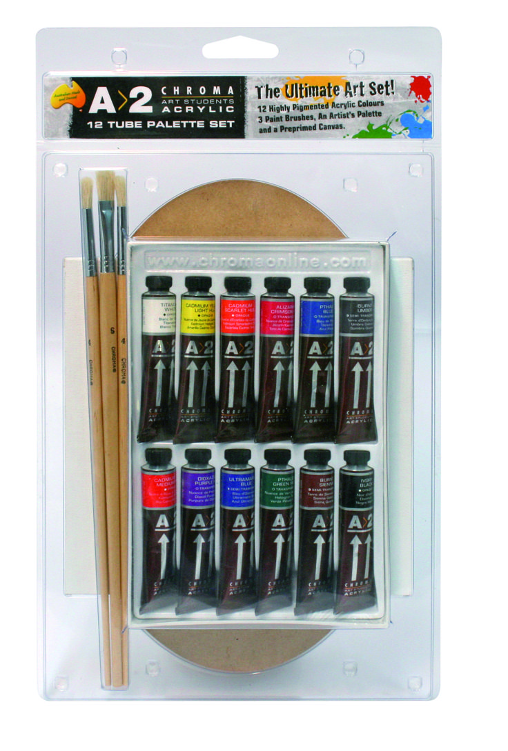 A2 12 x 20ml with Free Palette and Brushes Set