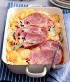 Uzené zapečené s kysaným zelím a bramborami. (http://www.apetitonline.cz/recepty/8486-uzene-zapecene-s-kysanym-zelim-a-bramborami.html)