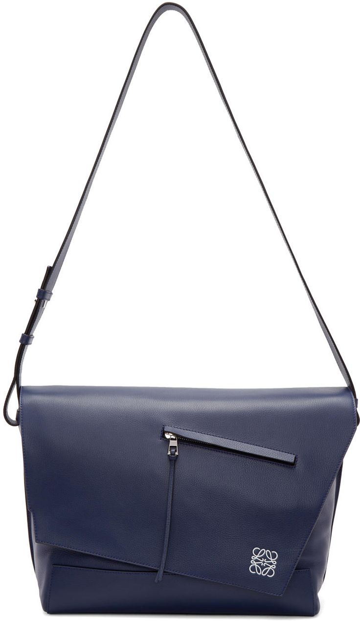 Loewe Navy Leather Anton Messenger Bag #bag