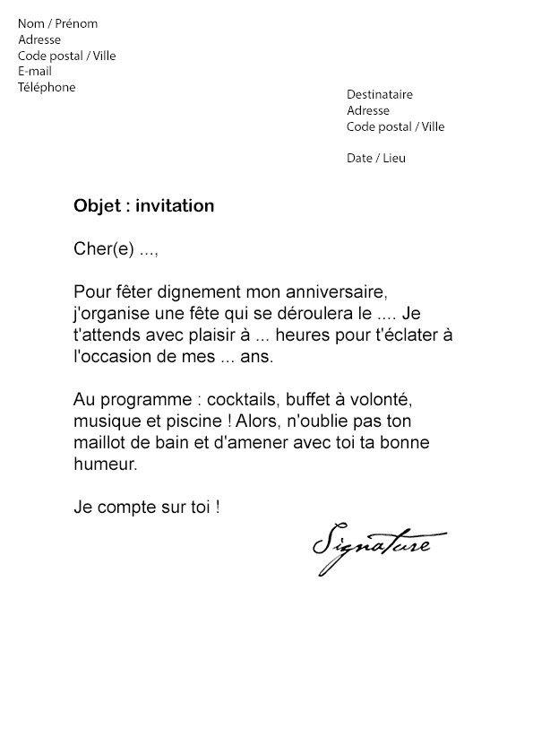 Une Lettre D Invitation Anniversaire New Modele De Lettre D Invitation A Une Conference