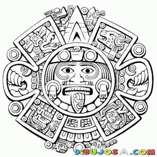 Sol Maya Para Colorear | COLOREAR MAYAS | Sol Maya Para Colorear | dibujosa.com