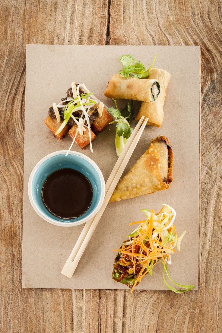 The Pot Luck Club - Crispy duck spring rolls,prawn samoosa, kimchi salad and crispy pork belly